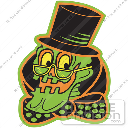 #29410 Royalty-free Cartoon Clip Art of a Grinning Human Skeleton Wearing a Hat, Glasses and a Bowtie by Andy Nortnik
