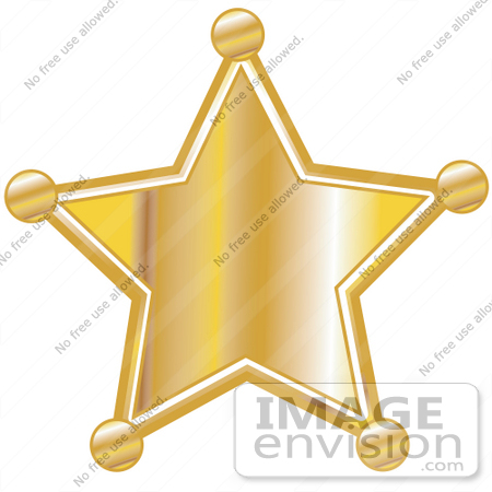 #29413 Royalty-free Cartoon Clip Art of a Golden Star Shaped Sheriff's Badge by Andy Nortnik