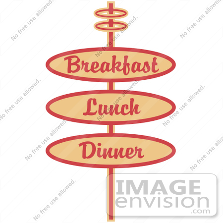 #29419 Royalty-free Cartoon Clip Art of a Vintage Tan Restaurant Sign Advertising Breakfast, Lunch And Dinner by Andy Nortnik