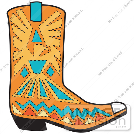 #29420 Royalty-free Cartoon Clip Art of an Orange Aztec Style Cowboy Boot With Blue And Yellow Accents Around A Bird by Andy Nortnik