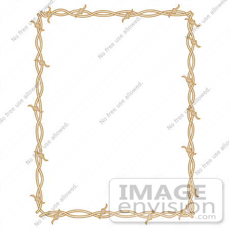 #29427 Royalty-free Cartoon Clip Art of a Rectangle Border Frame Of Barbed Wire Over A White Background by Andy Nortnik