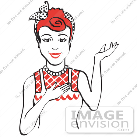 #29440 Royalty-free Cartoon Clip Art of a Friendly Red Haired Housewife, Waitress Or Maid Woman Wearing An Apron And Resting One Hand On Her Chest While Holding The Other Hand Up by Andy Nortnik