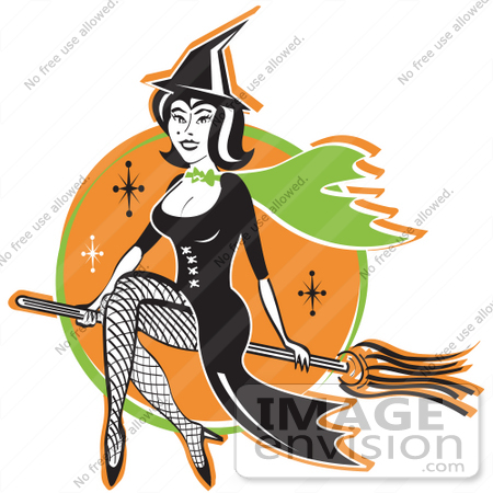 #29441 Royalty-free Cartoon Clip Art of a Cute Black Haired Witch In A Pointy Hat, Long Black Dress And Fishnet Stockings, Sitting Cross Legged On A Broomstick While Flying Through The Night Sky by Andy Nortnik