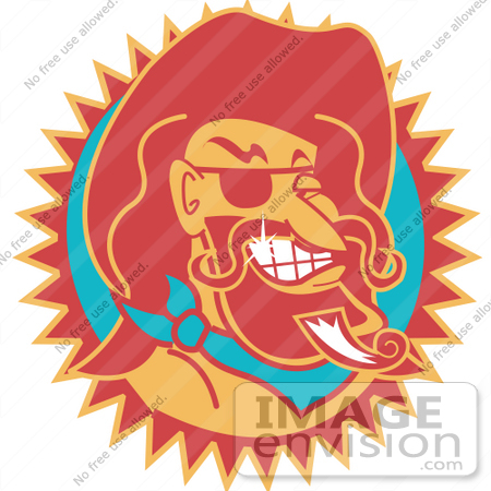 #29446 Royalty-free Cartoon Clip Art of a Wild Bill Hickock Smiling And Wearing A Cowboy Hat by Andy Nortnik