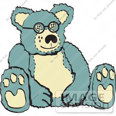 #29453 Royalty-free Cartoon Clip Art of a Blue And Tan Stuffed Teddy Bear Wearing Glasses by Andy Nortnik