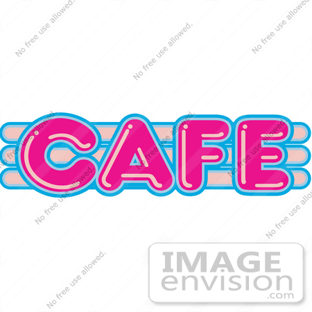 #29464 Royalty-free Cartoon Clip Art of a Vintage Pink and Blue Cafe Sign by Andy Nortnik