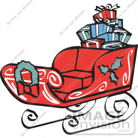 #29468 Royalty-free Cartoon Clip Art of a Red Sleigh Decorated With Holly And A Wreath, Carrying Presents by Andy Nortnik