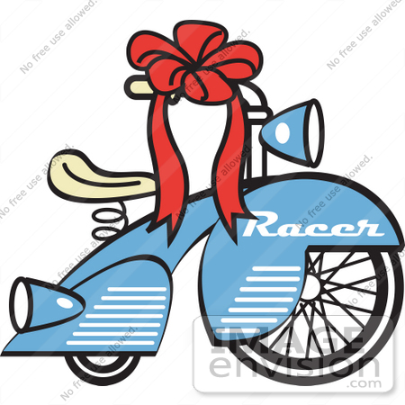 Royalty Free Cartoon Clip Art Of A Brand New Blue Racer Tricycle