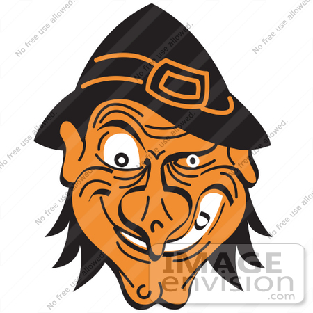 #29480 Royalty-free Cartoon Clip Art of an Evil Warty Halloween Witch's Face Grinning by Andy Nortnik