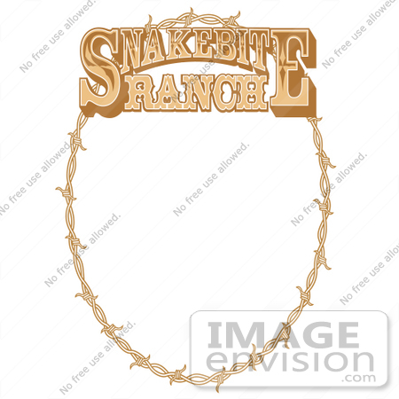 #29481 Royalty-free Cartoon Clip Art of an Oval Frame Made Of Barbed Wire On A Snakebite Ranch Sign by Andy Nortnik