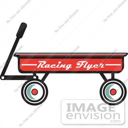 #29489 Royalty-free Cartoon Clip Art of a Red Pull Wagon by Andy Nortnik