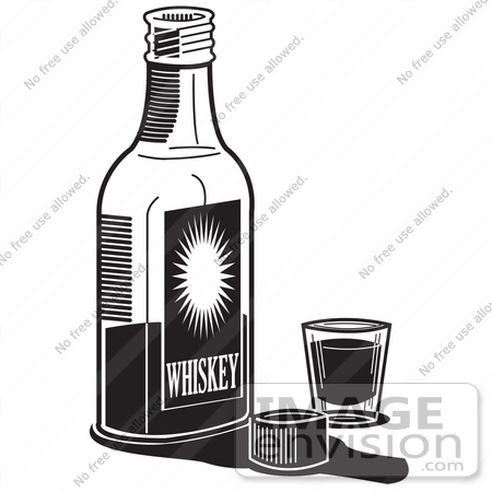 #29491 Royalty-free Black and White Cartoon Clip Art of a Bottle Of Whiskey By A Shot Glass In A Bar by Andy Nortnik