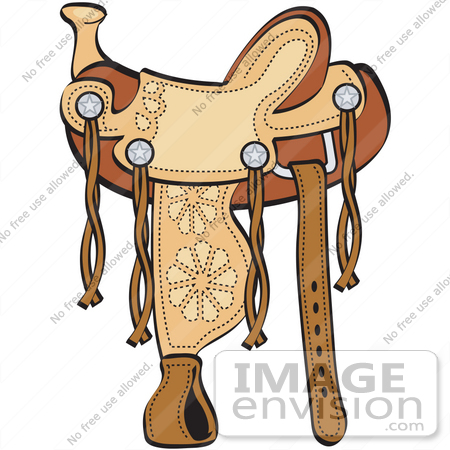 #29492 Royalty-free Cartoon Clip Art of a Western Leather Saddle With Floral Accents by Andy Nortnik