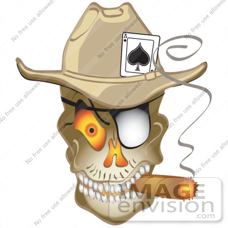 Royalty Free Cartoon Clip Art Of An Evil Skeleton Cowboy With An Ace