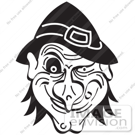 #29520 Royalty Free Cartoon Clip Art Of An Evil Warty Halloween Witchu0027s  Face Grinning