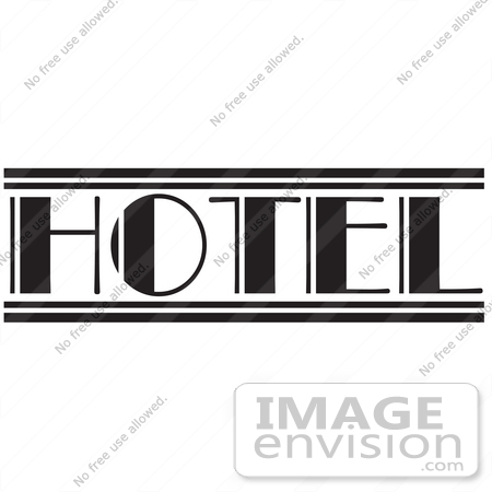 29521 Royalty Free Cartoon Clip Art Of A Black And White HOTEL
