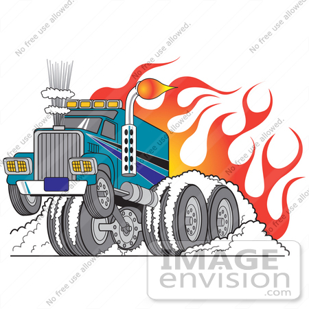 #29530 Royalty-free Cartoon Clip Art of a Tough Big Rig Truck Flaming And Trucking Through Snow In Wintry Road Conditions by Andy Nortnik
