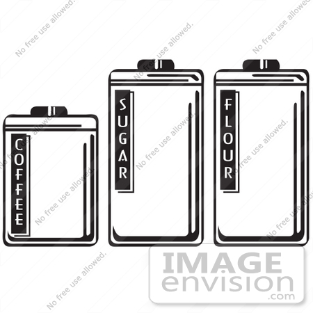 #29574 Royalty-free Cartoon Clip Art of Three Storage Canisters In A Kitchen, Holding Coffee, Sugar And Flour by Andy Nortnik