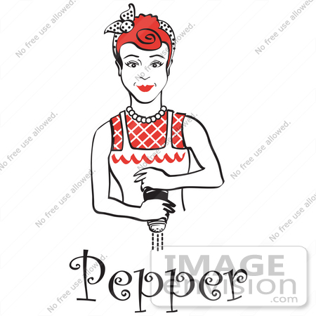 #29579 Royalty-free Cartoon Clip Art of a Red Haired Housewife Or Maid Woman Grinding Fresh Pepper While Cooking, With Text by Andy Nortnik