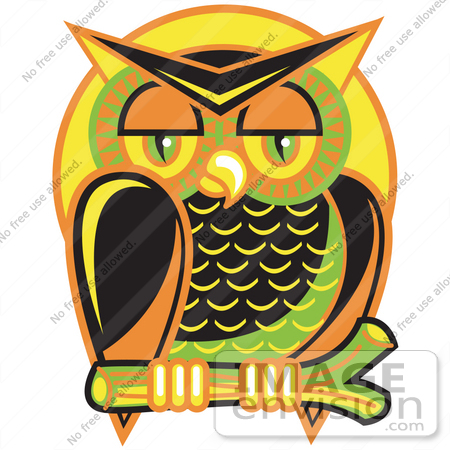#29589 Royalty-free Cartoon Clip Art of a Wise And Colorful Owl Perched On A Branch At Night Against A Full Moon by Andy Nortnik
