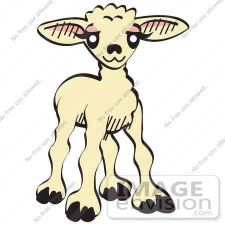 Royalty-free cartoon holiday clip art picture of a sweet baby lamb. It ...