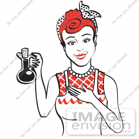 #29606 Royalty-free Cartoon Clip Art of a Happy Woman in an Apron, Holding up a Bottle of Cooking Oil by Andy Nortnik