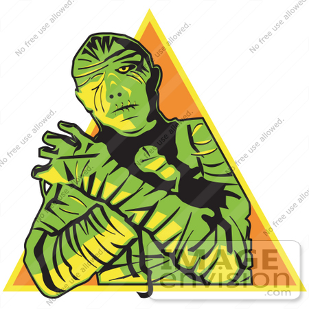 #29609 Royalty-free Cartoon Clip Art of a Mummy Wrapped Up With His Arms Crossed In Front Of Him And Cast In Green And Yellow Lighting Over An Orange Triangle by Andy Nortnik