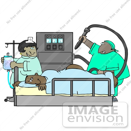 #29709 Clip Art Graphic of a Nurse Preparing an IV and Watching as a Proctologist Prepares to Give a Scared Man a Colonoscopy by DJArt