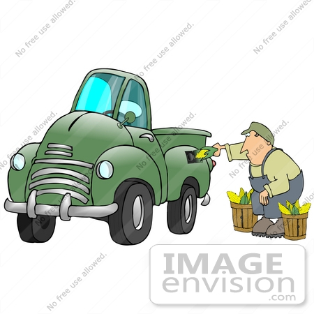 #29714 Clip Art Graphic of a Middle Aged Caucasian Man Inserting Corn Into A Green Biodiesel Truck's Gas Tank by DJArt