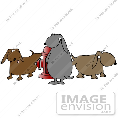 #29717 Clip Art Graphic of a Group of Naughty Dogs Pissing on a Fire Hydrant by DJArt