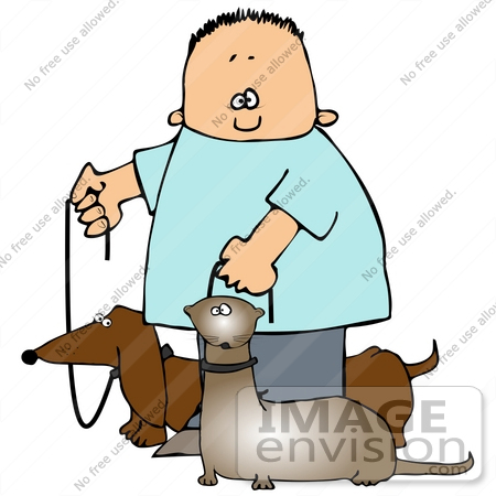 #29719 Clip Art Graphic of a Happy Boy Walking His Little Wiener Dog and Ferret at the Same Time by DJArt
