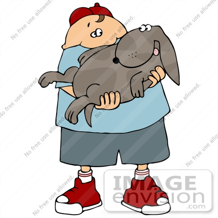 #29721 Clip Art Graphic of a Happy Boy Holding His Dog in His Arms by DJArt