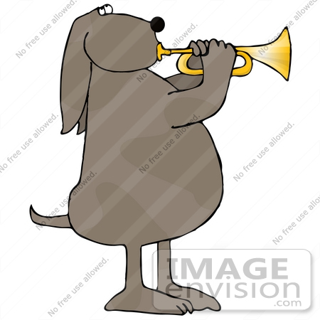 #29727 Clip Art Graphic of a Talented Brown Dog Blowing on a Trumpet by DJArt