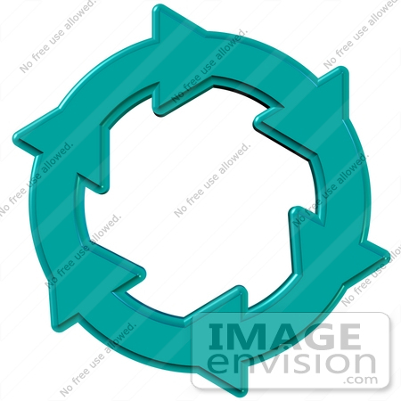 Clip Art Graphic of Turquoise Arrows Moving In A Clockwise Motion ...