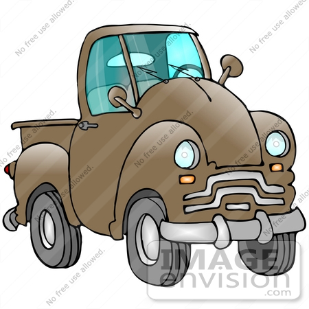 #29739 Clip Art Graphic of a Brown Pickup Truck by DJArt