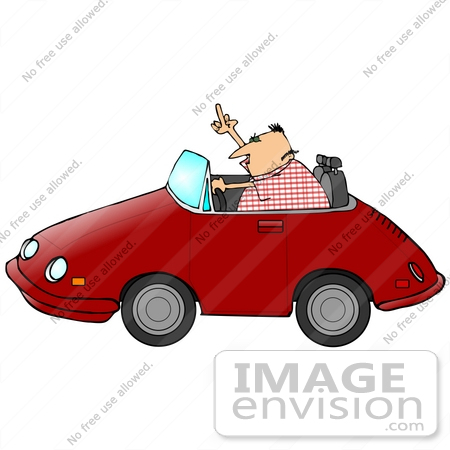 #29743 Clip Art Graphic of a Man Driving a Convertible Car, Flipping Someone Off in a Fit of Road Rage by DJArt