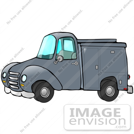 #29745 Clip Art Graphic of a Blue Work Truck With Storage Compartments by DJArt