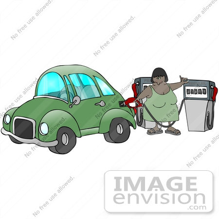 #29755 Clip Art Graphic of a Woman Filling Her Gasoline Tank at a Gas Station by DJArt
