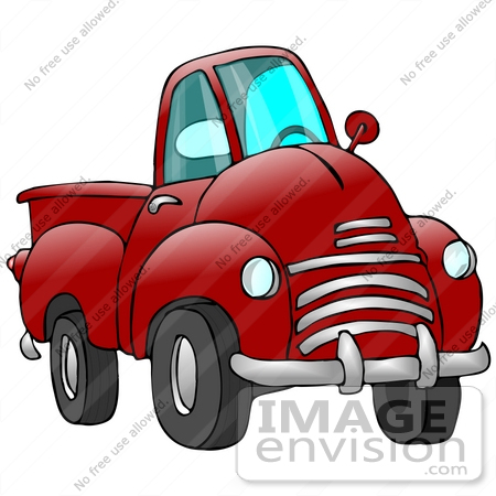 #29757 Clip Art Graphic of a Red Pickup Truck With a Chrome Bumper by DJArt