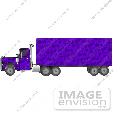 #29760 Clip Art Graphic of a Purple Camouflage Transfer Truck by DJArt