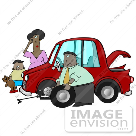 Clip Art Graphic Of A Nice Man Stopping To Help A Clueless Woman And