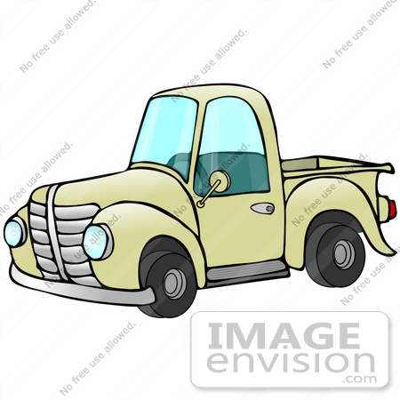 clip art graphic of an old fashioned yellow pickup truck with a rh imageenvision com old pickup truck clipart red pickup truck clipart