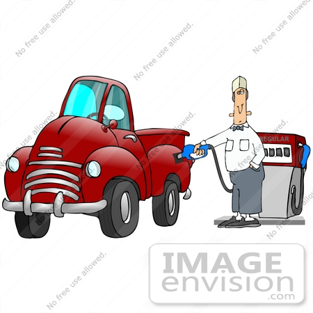 #29781 Clip Art Graphic of a Gas Station Attendant Fueling a Red Truck by DJArt