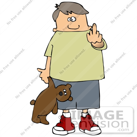 #29790 Clip Art Graphic of a Clueless Boy Holding a Teddy Bear and Holding up His Middle Finger by DJArt