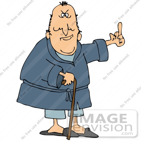 #29793 Clip Art Graphic of a Mean Old Man in a Robe, Using a Cane and Flipping People the Bird by DJArt