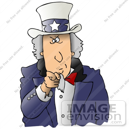 #29819 Clip Art Graphic of a Stern Uncle Sam Wearing A Hat With Stars On It And A Blue Jacket, Pointing Outwards At The Viewer by DJArt