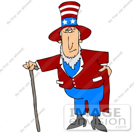 #29820 Clip Art Graphic of a Bored Man in an Uncle Sam Costume, Leaning on a Cane by DJArt