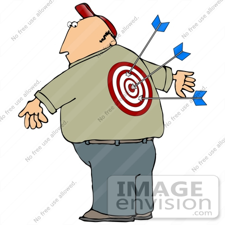 #29832 Clip Art Graphic of a Man With Arrows Stuck In The Bullseye On His Back by DJArt