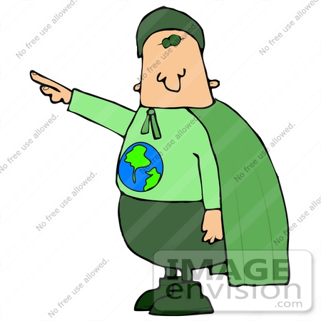 #29836 Clip Art Graphic of an Environmentalist Super Hero, Ready To Save The Planet by DJArt