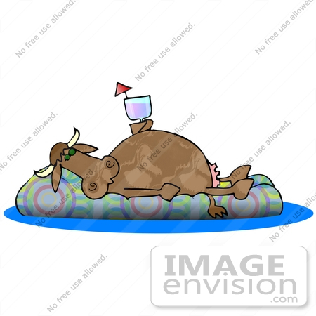 #29852 Clip Art Graphic of a Lazy Dairy Cow Drinking Wine and Floating on an Inner Tube in a Swimming Pool While Taking a Vacation by DJArt